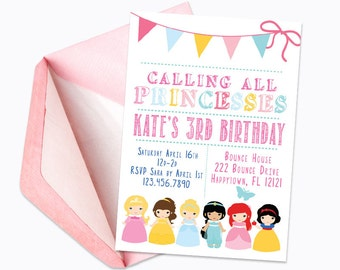 Princess Birthday Party Invitation/Calling All Princesses/Disney Princess Birthday Party/Girl Dress Up Party