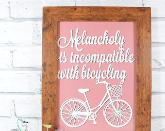 HALF PRICE!! - PRINT - Melancholy is incompatible with bicycling - print from original papercut by QueenieDot
