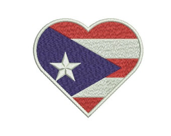 "Machine Embroidery Design Instant Download - Heart ""Puerto Rico"" Flag DC United States of America USA"