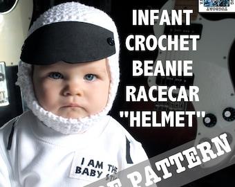 PDF CROCHET PATTERN - Baby Race Car Driver Crochet Hat