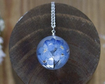 Forget Me Nots Necklace - Flower Globe , Gifts For Her , Memorial Necklace , Something Blue , Resin Necklace , Bridal Jewelry , Real Flower