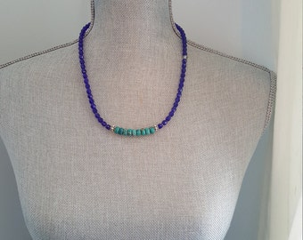Royal blue glass beads and semi precious turquoise stones