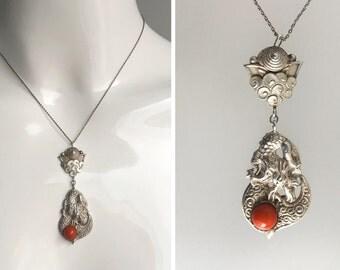 ART NOUVEAU JUGENDSTIL Necklace Pendant Silver Coral Oriental Asian Style - Excellent Condition !