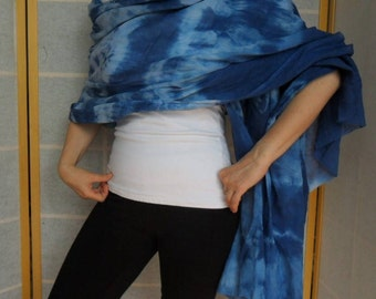 Beach scarf cover up, blue,unique