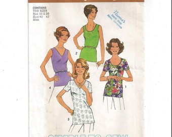 Simplicity 6975 Pattern for Misses' Tops or Blouses in 4 Styles, Size 18 & 20, From 1975, Vintage Pattern, Home Sewing Pattern, Simple Sew