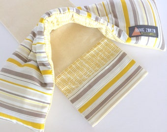Lavender Heat Pack & Wrap: Yellow and brown/grey strip with Yellow dashed line back