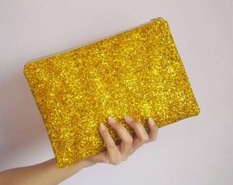 Gold Glitter Clutch Bag, Sparkly Deep Gold Evening Bag, Deep Gold Glitter Party Bag, Gold Clutch Bag, Sparkly Clutch, Glitter Evening Bag,