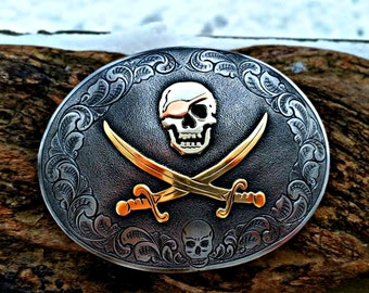 Jack Rackham Buckle, Pirate Flag Buckle, Pirate Belt Buckle, Battle Flag Buckle, Engraved Belt Buckle, Mens Belt Buckle, Calico Jack Buckle