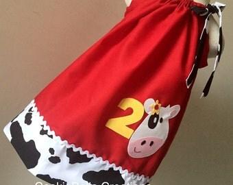 Farm Cow Red & Cow Print Pillowcase  Dress