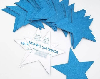 Star Invitations, Glitter Star Invitations, Star Shape Invitations, Glitter Invitations, Girly Invitation, Party Invitation, Birthday Invite