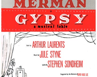 Vocal Selection - Gypsy - 1959 c. Mint condition - 32 pages - Jule Styne / Stephen Sondheim