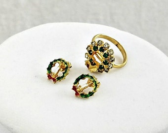 Vintage 14 kt Gold Post Earrings and Adjustable Ring Set, Rhinestone Wreath Earrings and Ring, Holiday Jewelry, Christmas Gift for Her