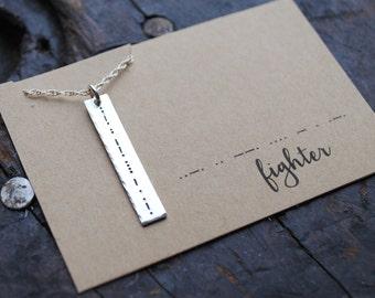 morse code {secret message} bar necklace
