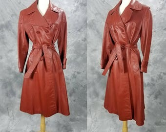 1970s leather trench coat, red brown, belted, double breasted, Nordstrom, point of view, jacket, Medium