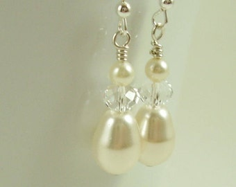 Cream Teardrop Bridal Pearl Earrings - Bridal Drop Earrings  - Bridesmaid Earrings - Swarovski Earrings - Bridal Jewellery - Bridal Earrings