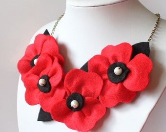 Red and Black Poppy Necklace, Poppies and Pearls Flower Necklace, Bright Red Statement Necklace, Poppy Jewellery