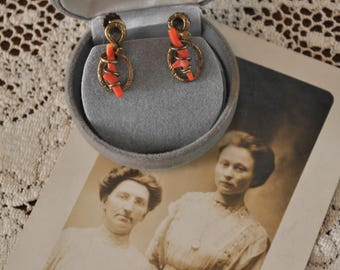 Antique Coral Love Knot Earrings