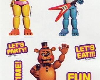 Freddy Fazbear, Toy Chica and Toy Bonnie Sticker Sheet - Officially Licensed Five Nights At Freddys Scott Cawthon & Sandylion FNAF Series 1