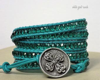 boho wrap bracelet, Teal Crystal Glass Beads, Teal Leather, Large Metal Button