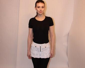 6 pocket pleat fringed utility micro skirt