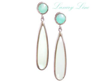 Mint & White Opal Chandeliers. Opal Earrings. Chandelier Posts. Azaliya Luxury Line. Bridal chandeliers, bridesmaids jewelry. Wedding gift.