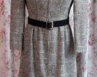 60s Anne Fogarty Dress - Black & White Variegated Wool - Zip Front - Original Belt - Hipster Chic - Excellent Condition - Size Small