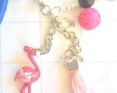 Flamingo Key Holder, pink flamingo keyring, flamingo accessory, Flamingo keyring, flamingo keychain, personalised keyring, flamingo gift,