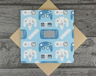 Nintendo Controllers Videogame Patterned Greetings Birthday / Anniversary / Mothers Day / Fathers Day / Valentines Day Card - Blank inside