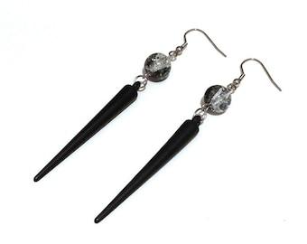 Black Acrylic Spike Earrings with Crackle Glass Beads