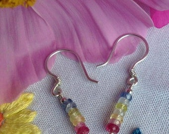 Multi-coloured Sapphire Sterling Silver Earrings