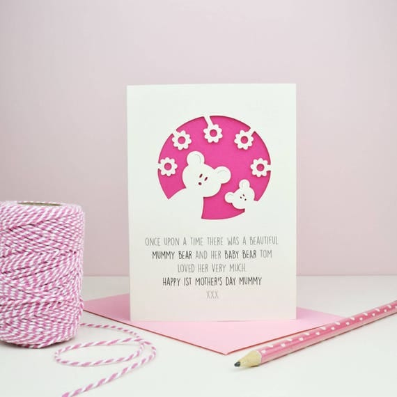 Personalised First Mother's Day card - mummy bear - mother's day - mummy card - bears