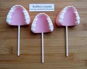 DENTURE TEETH Chocolate Pops (12) - Dental Hygienist/Dental Assistant/Dental School Graduation/RETIREMENT Gift