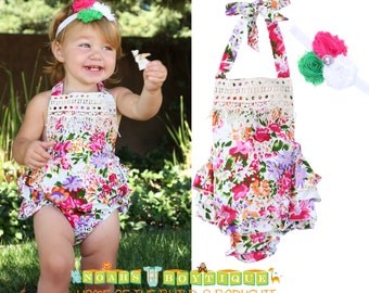 Baby Girl Floral Ruffle Romper with Vintage Style Lace Trim - Baby Girl Clothes for Spring - Girls Outfits - Headband - Baby Shower Gift