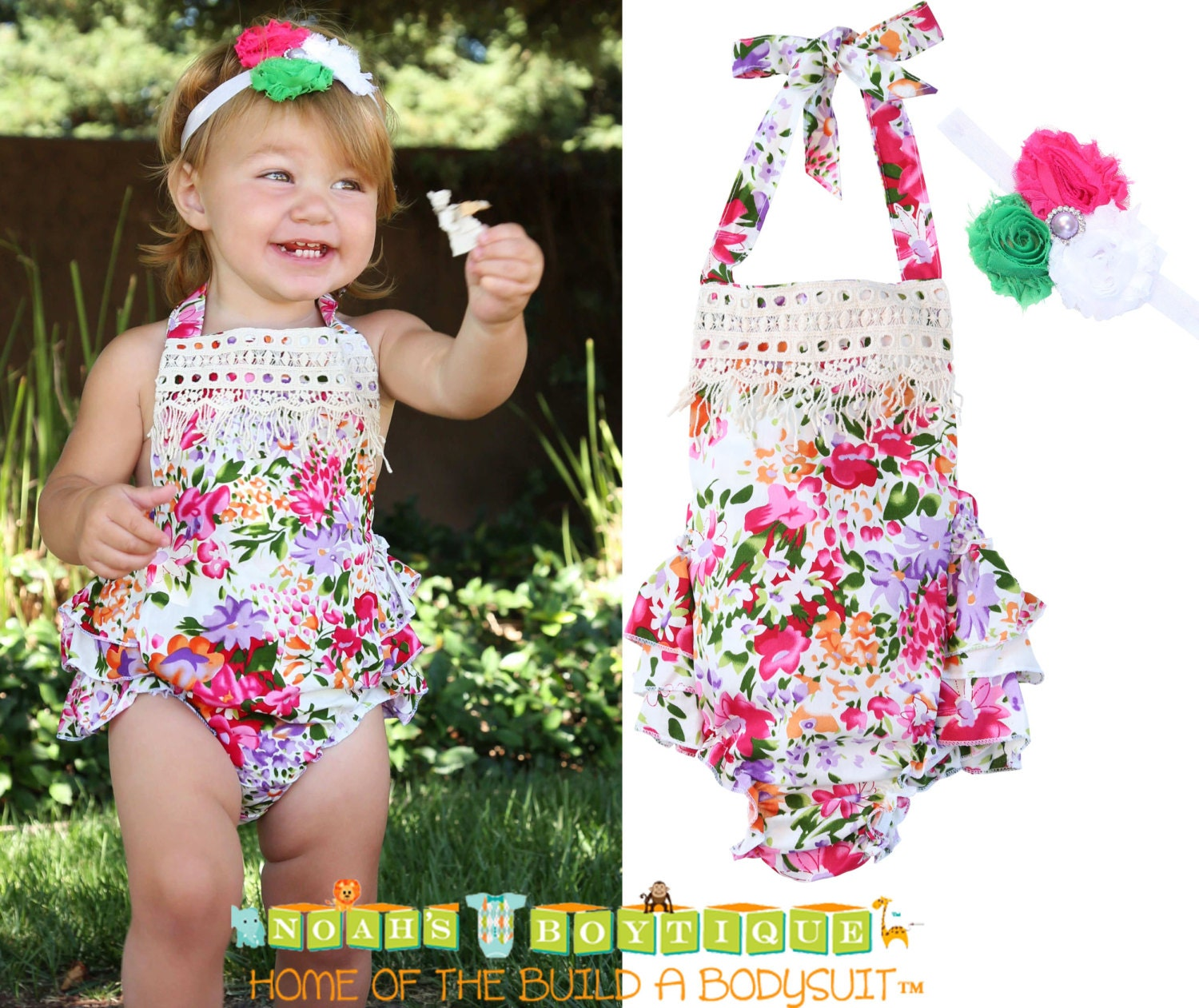 Baby Girl Floral Ruffle Romper With Vintage Style Lace Trim