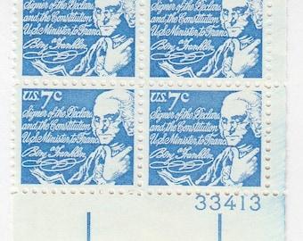 1972 Benjamin Franklin, 7 cent US Postage, Unused Block of 4