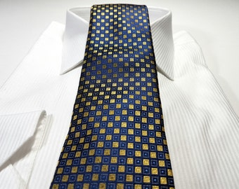 Silk Tie in Geometric with Yellow Gold White and Navy Malibu Blue