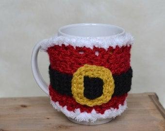 Crochet Santa Mug Cozy Ready to Ship