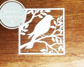 Papercut template Bird in tree Digital file - DIY papercut bird - diorama papercutting - INSTANT DOWNLOAD - Do it yourself paper cutting