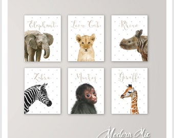 Animal Baby Print Art Safari Nursery Decor Baby Animal Prints Gender Neutral Elephant Nursery Wall Art Prints Set of 6 BA 001