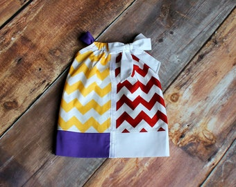LSU MSU House Divided Pillowcase Dress - newborn child baby infant toddler Mississippi State Bulldogs Louisiana State Tigers football
