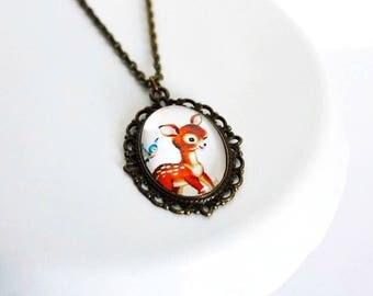 Adorable Deer Cameo Necklace