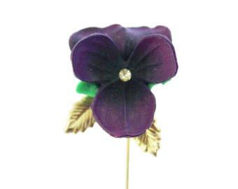 Purple Pansy Stick Pin, Purple Pansy Brooch, Purple Flower Brooch