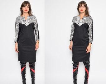 Vintage 80's Batwing Black Dalmantian Dress / Lace Up Cotton Dress / Long Sleeve Black Dress - Size Small