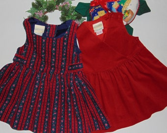 Laura Ashley vintage Mother & Child cotton needlecord pinafore dresses 12-18 months
