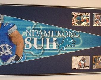 Detroit Lions Ndamukong Suh Pennant & Cards....Custom Framed