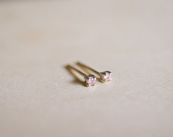 October Birthstone Mini Pink CZ Sterling Silver Studs