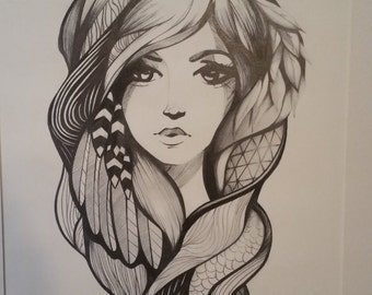 Gypsy Girl Drawing Modern Abstract Realism Wall Art By Jacob Langston