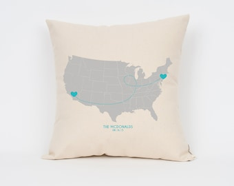 "Long Distance Relationship Pillow, 16"", Mother's Day Gift, Going Away Gift, Gift for Grandma, Gift for Mom from Daughter, Custom Map Pillow"