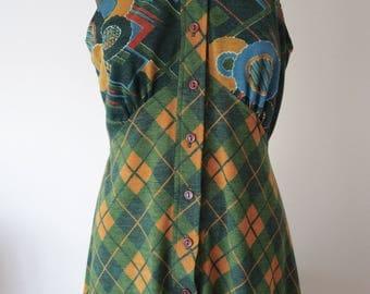 Amazing 70s plaid maxi halterneck dress M