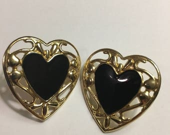 Black and Gold Heart Post Earrings